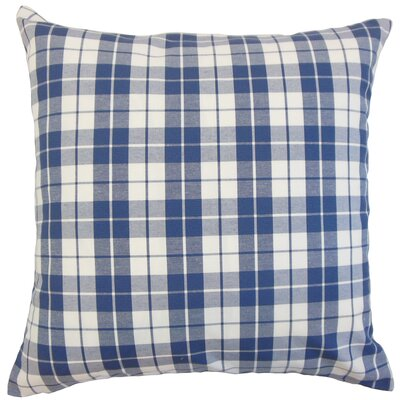 Joss Plaid Cotton Throw Pillow Color: Navy, Size: 22