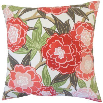 Iniabi Floral Cotton Throw Pillow Color: Coral, Size: 18 x 18