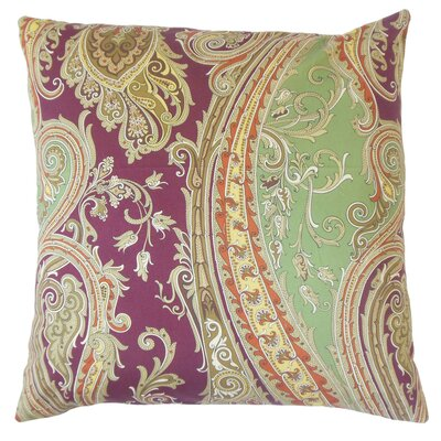 Efharis Cotton Throw Pillow Color: Cranberry, Size: 18 x 18