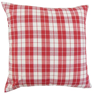 Joss Plaid Cotton Throw Pillow Color: Red, Size: 22 x 22