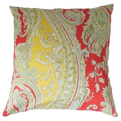 Efharis Cotton Throw Pillow Color: Lacquer Red, Size: 18 x 18