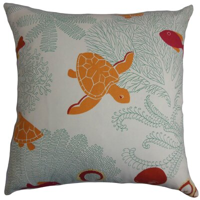 Ondine Coastal Cotton Throw Pillow Cover Size: 20 x 20, Color: Coral