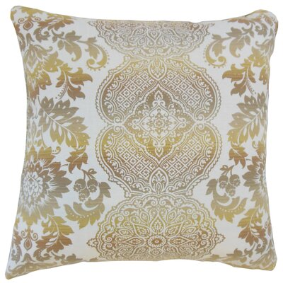 Orma Damask Throw Pillow Color: Limestone, Size: 18 x 18