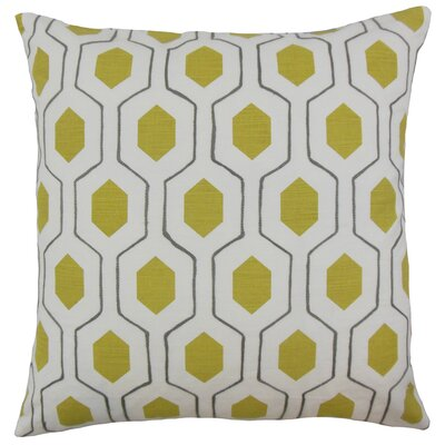 Flynn Geometric Cotton Throw Pillow Color: Chartreuse, Size: 24 x 24