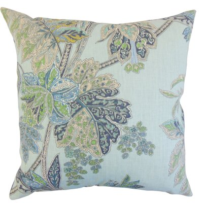 Taja Floral Linen Throw Pillow Color: Sapphire, Size: 24 x 24