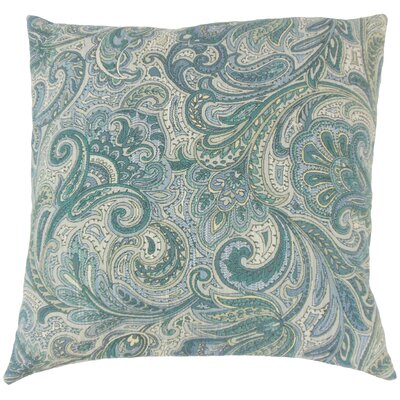 Vilette Paisley Throw Pillow Color: Danube, Size: 22 x 22