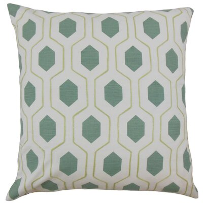 Flynn Geometric Cotton Throw Pillow Color: Spa, Size: 18 x 18