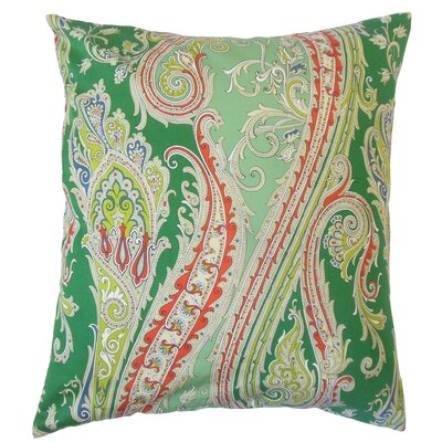 Efharis Cotton Throw Pillow Color: Green, Size: 18 x 18
