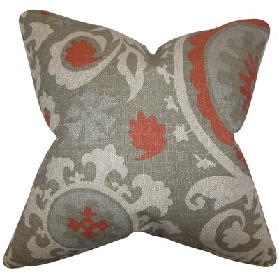 Wella Cotton Throw Pillow Color: Gray Red, Size: 24 x 24