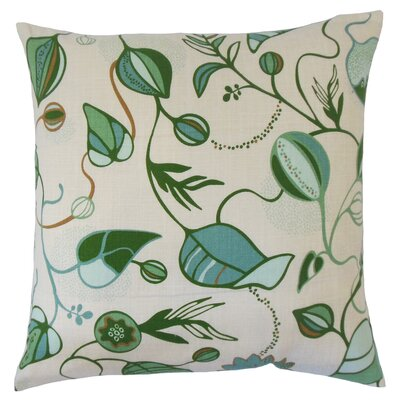 Qiana Cotton Throw Pillow Color: Green, Size: 18 x 18