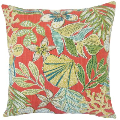 Felice Cotton Throw Pillow Color: Coral, Size: 18 x 18