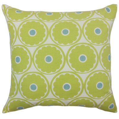 Day Floral Cotton Throw Pillow Color: Lime, Size: 24