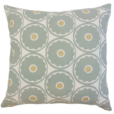 Day Floral Cotton Throw Pillow Color: Spa, Size: 18 x 18