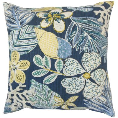 Felice Cotton Throw Pillow Color: Indigo, Size: 18 x 18