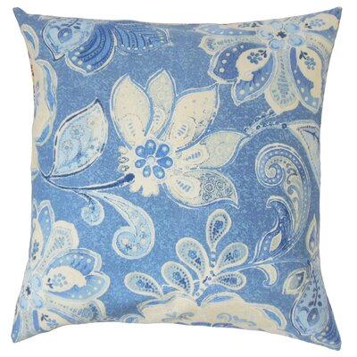 Behitha Floral Cotton Throw Pillow Color: Porcelain, Size: 20 x 20
