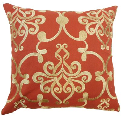 Bahira Damask Cotton Throw Pillow Size: 18 x 18