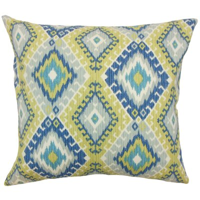 Brinsmead Ikat Cotton Throw Pillow Color: Aegean, Size: 18 x 18