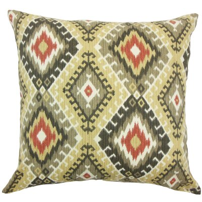 Brinsmead Ikat Cotton Throw Pillow Color: Red Black, Size: 18 x 18