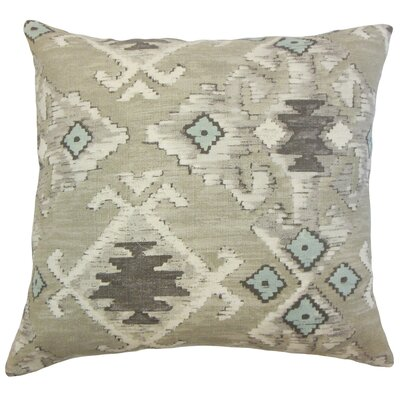 Nouevel Ikat Cotton Throw Pillow Cover Color: Aqua Cocoa