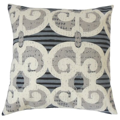 Boyana Cotton Throw Pillow Color: Blue, Size: 18 x 18