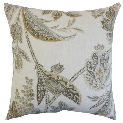 Taja Floral Linen Throw Pillow Color: Ash, Size: 24 x 24