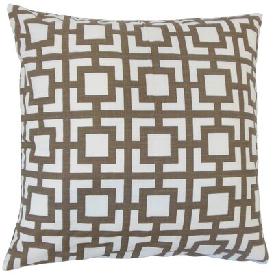 Ianto Geometric Cotton Throw Pillow Color: Brown, Size: 22 x 22