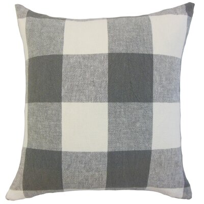 Amory Plaid Throw Pillow Color: Coal, Size: 22 x 22