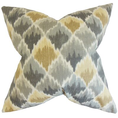 Yarrow Geometric Cotton Throw Pillow Color: Pewter, Size: 24 x 24