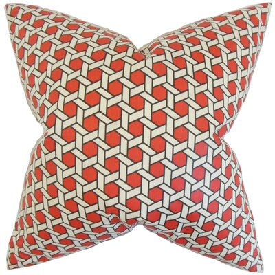 Destry Geometric Cotton Throw Pillow Color: Red, Size: 18 x 18