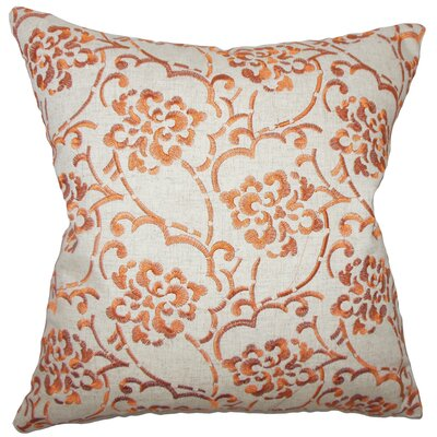 Zaltana Floral Cotton Outdoor Throw Pillow Cover Size: 18 x 18, Color: Orange