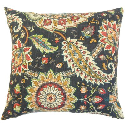 Harum Floral Throw Pillow Cover Color: Black