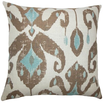 Eitan Ikat Throw Pillow Cover Color: Aqua Cocoa