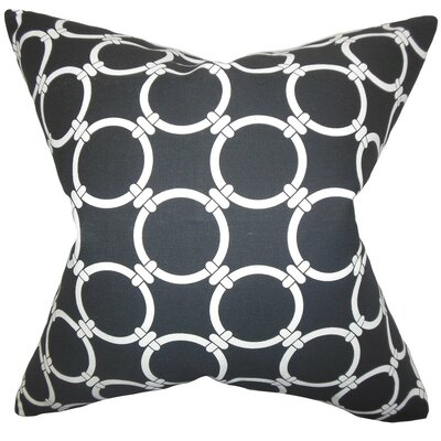 Betchet Geometric Cotton Throw Pillow Cover Color: Black