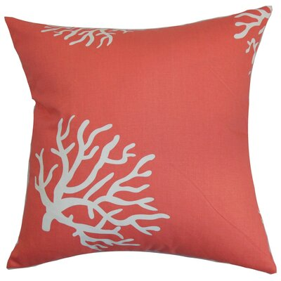 Jessamine Coral Cotton Throw Pillow Cover Color: Coral White