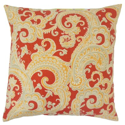 Fiachra Paisley Throw Pillow Cover Color: Flame