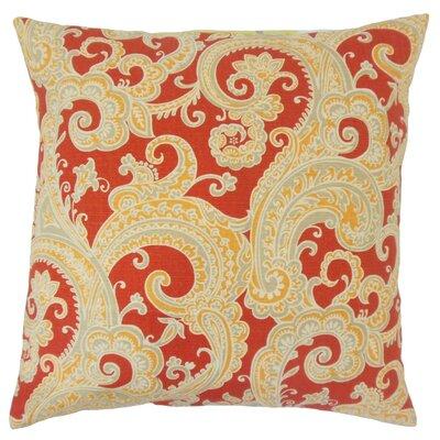 Fiachra Paisley Throw Pillow Cover Color: Flame