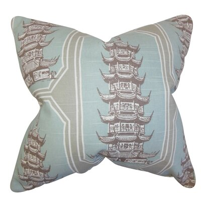 Chakra Geometric Cotton Throw Pillow Cover Color: Blue