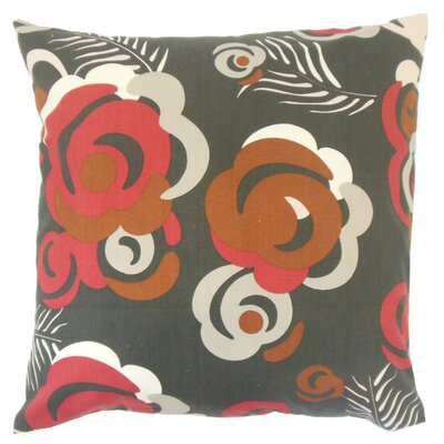 Riyaz Cotton Throw Pillow Color: Currant, Size: 18 x 18