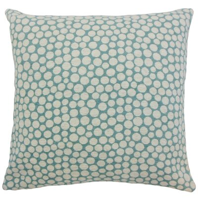 Elif Polka Dot Linen Throw Pillow Cover Color: Cyan