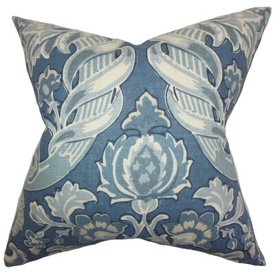Kiriah Floral Linen Throw Pillow Cover Color: Denim