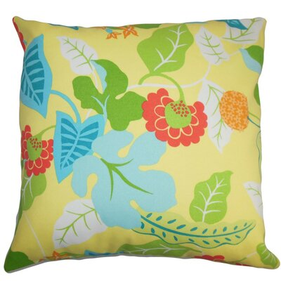 Gamila Floral Outdoor Linen Throw Pillow Cover Color: Yellow Blue