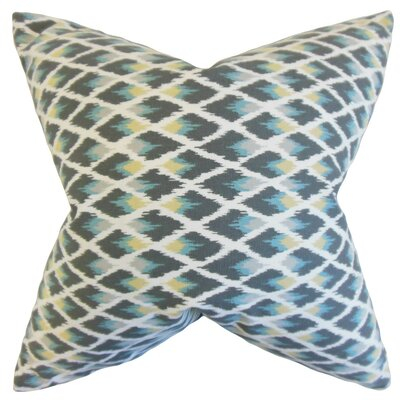 Paxton Ikat Cotton Throw Pillow Cover Color: Rain