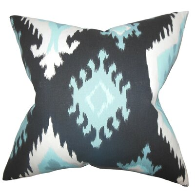 Britain Ikat Cotton Throw Pillow Cover Color: Blue