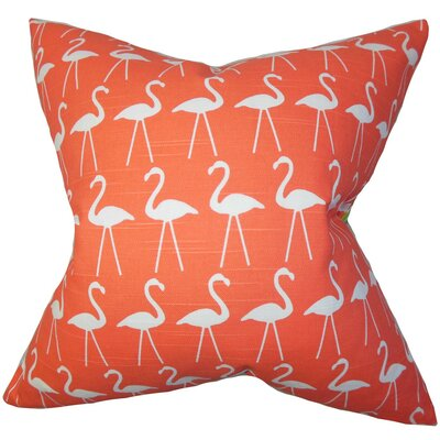 Brylee Animal Print Cotton Throw Pillow Color: Salmon, Size: 18 x 18