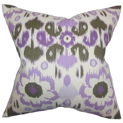 Perrysburg Ikat Cotton Throw Pillow Cover Color: Purple