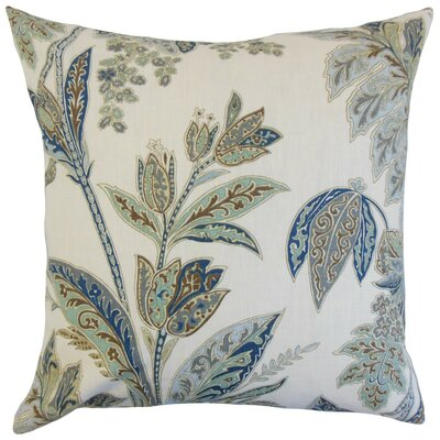 Taja Floral Linen Throw Pillow Cover Color: Indigo