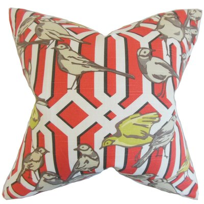 Bela Aviary Linen Throw Pillow Cover Color: Poppy