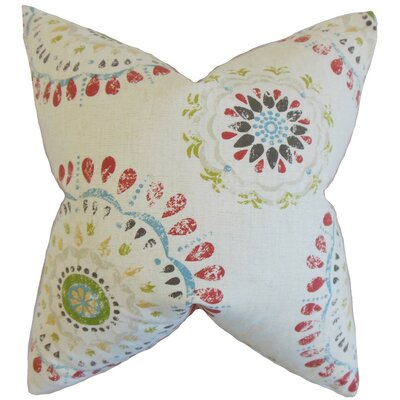 Hali Geometric Cotton Throw Pillow Cover Color: Coral