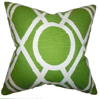 Whit Geometric Throw Pillow Cover Color: Green