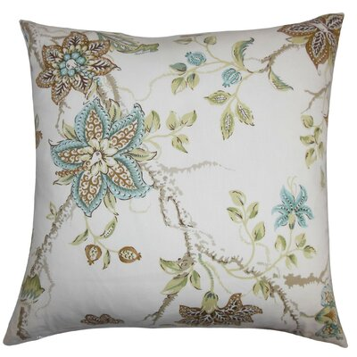 Ithaca Floral Throw Pillow Cover Color: Brown Blue